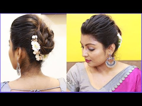 Easy wedding guest hairstyles Tamil | Puff with bun hairstyles | puff hairstyle tricks thumbnail