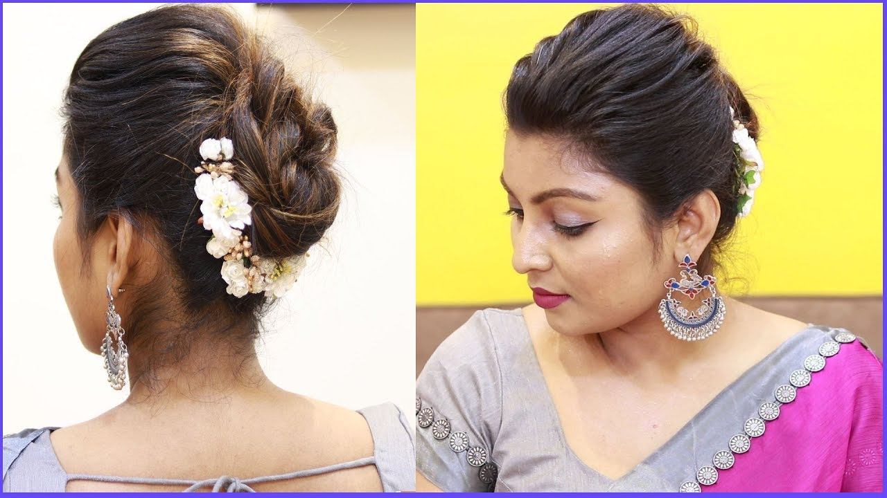 Easy Indian Wedding Guest Hairstyles Tamil Puff With Bun Hairstyles Puff Hairstyle Tricks