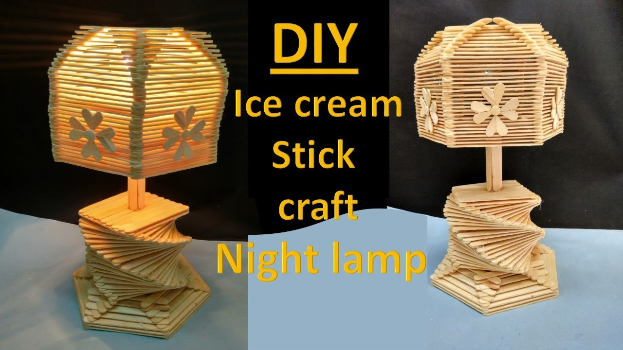How to make ice cream stick lamp || ice cream stick craft ...