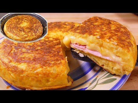Tasty  Spanish potato omelette SANDWICH style - easy food recipes for dinner to make at home