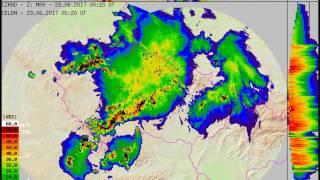 Včerejší bouřky očima meteorologického radaru