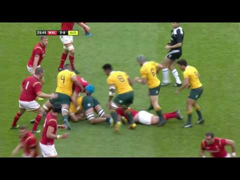 Wales v Australia - Tipuric Defensive Tackle  & Breakdown - First Half