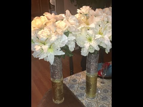 Easy diy Glam twin tower vases, wedding centerpieces DollarTree