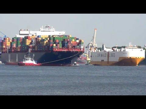 Jebel Ali + Grande Italia Leaving Port of Hamburg