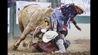 RENO RODEO 2018 - Cody Webster and Dusty Tuckness bullfighting highlight