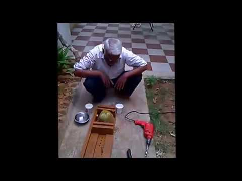 Tender coconut opening in seconds by using hand operated drilling machine