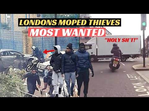 UK MOPED THEFT Compilation | Teenage thugs hijack delivery riders bike and steal his phone
