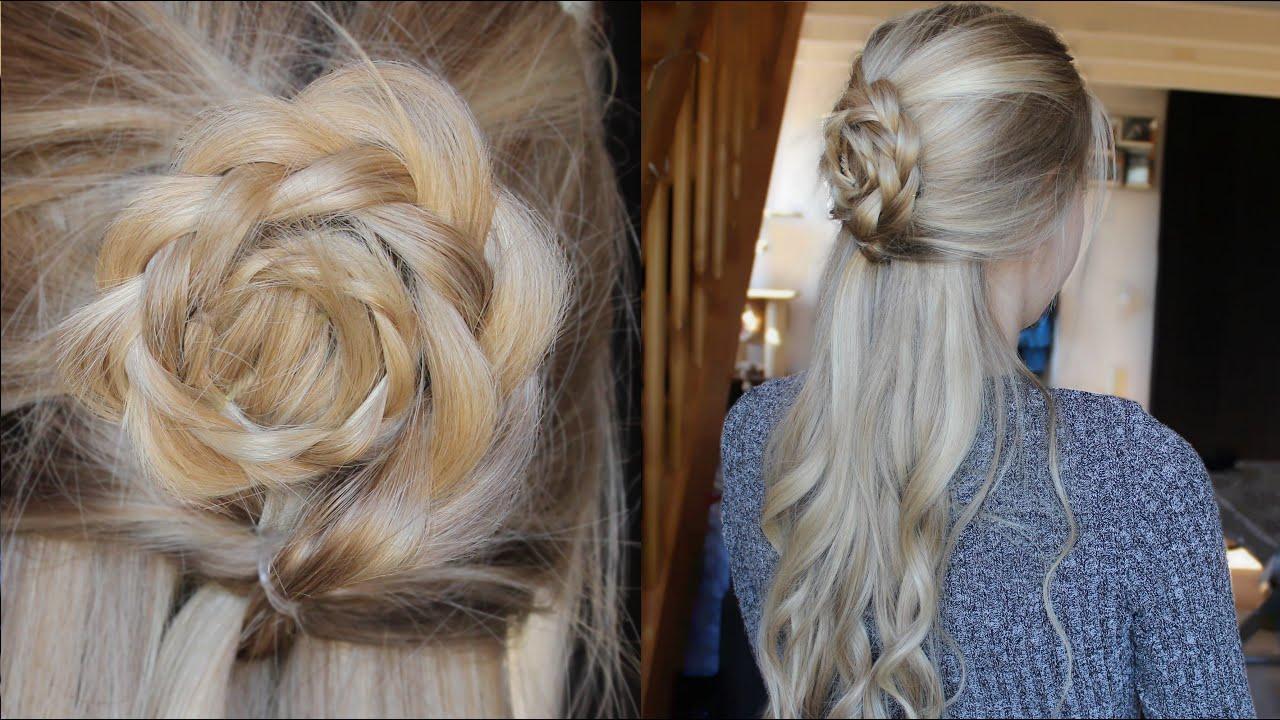 Tuto coiffure demi chignon fleur youtube - Demi queue chignon ...