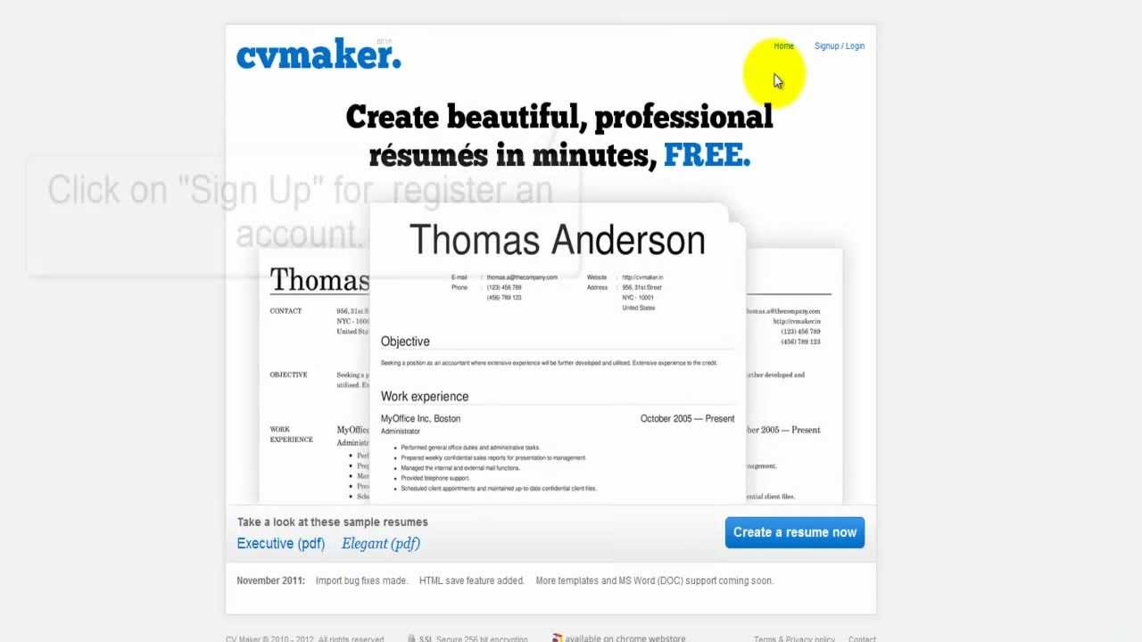 how to create a resume online for free youtube