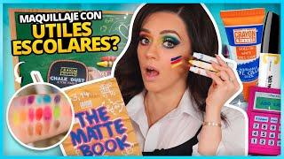 ME MAQUILLO CON ÚTILES ESCOLARES! #2 | ME DELINEO LOS OJOS CON MARCADOR PERMANENTE?!