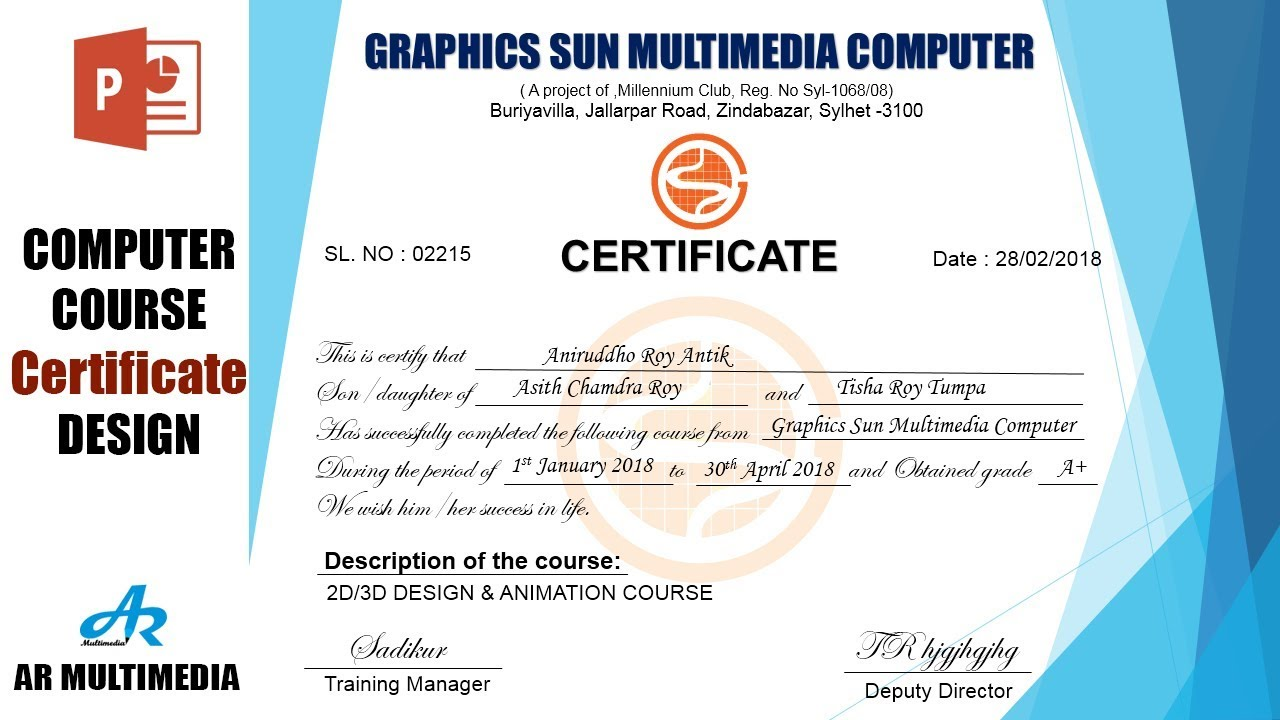 how to create a computer course certificate design in ms powerpoint