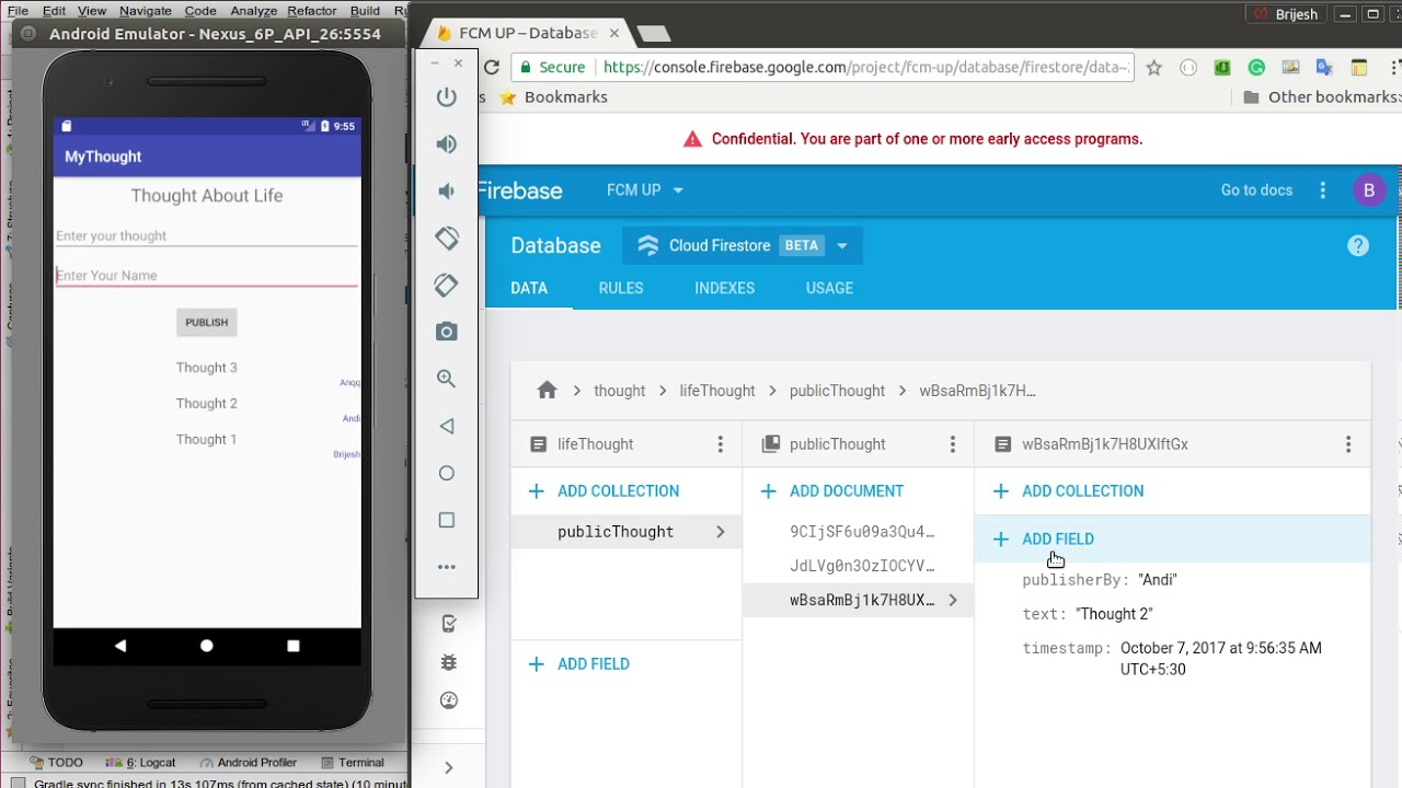 Firebase Firestore Database for Android Application