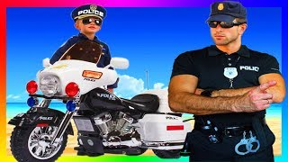 FUNNY BABY Police Officer Ride on POWER WHEEL Police Car to Petrol Station - The wheel feel off