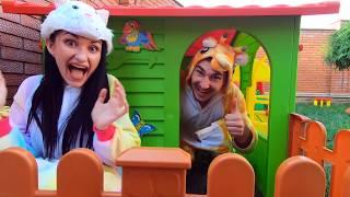 Kids pretend play HIDE and SEEK with magic white rabbit   Kirill and Pasha