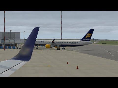 X Plane 11 Reykjavik - Glasgow Icelandair 757-200 FI430 Live