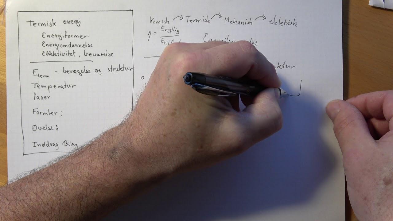 Termisk Energi, Et forslag til grundelementer til eksamen Fysik B
