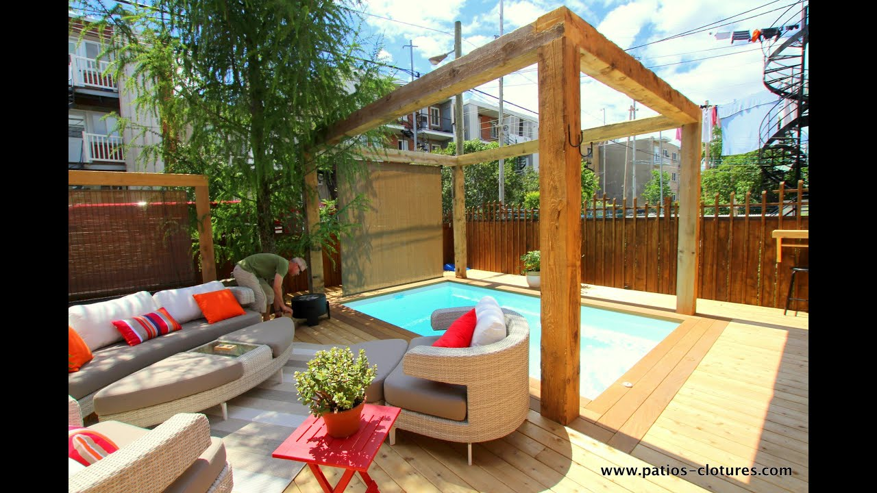 patio autour d 39 une piscine creus e paquette montr al dans le quartier rosemont youtube. Black Bedroom Furniture Sets. Home Design Ideas