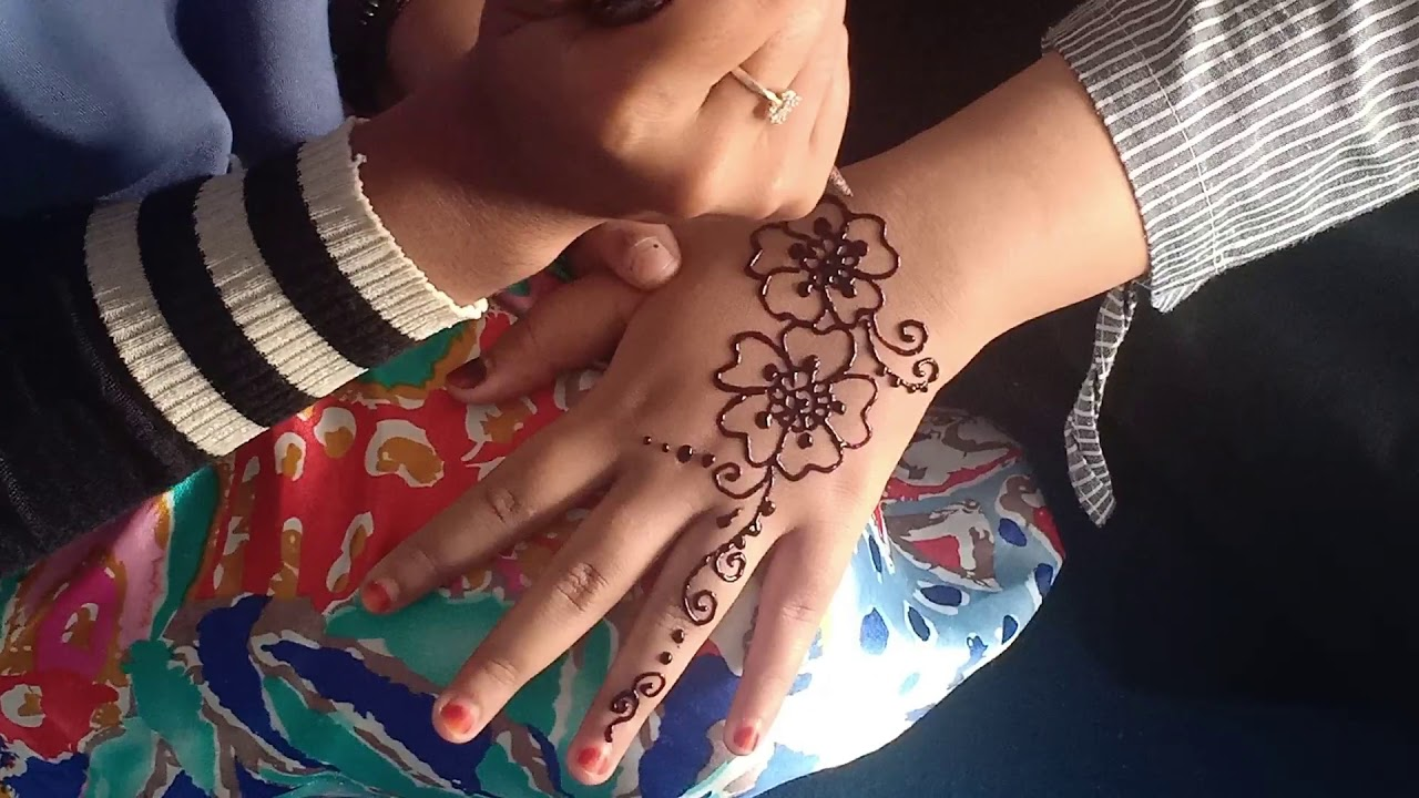 Cara Menggambar Henna Tangan Simple Untuk Pengantin - YouTube