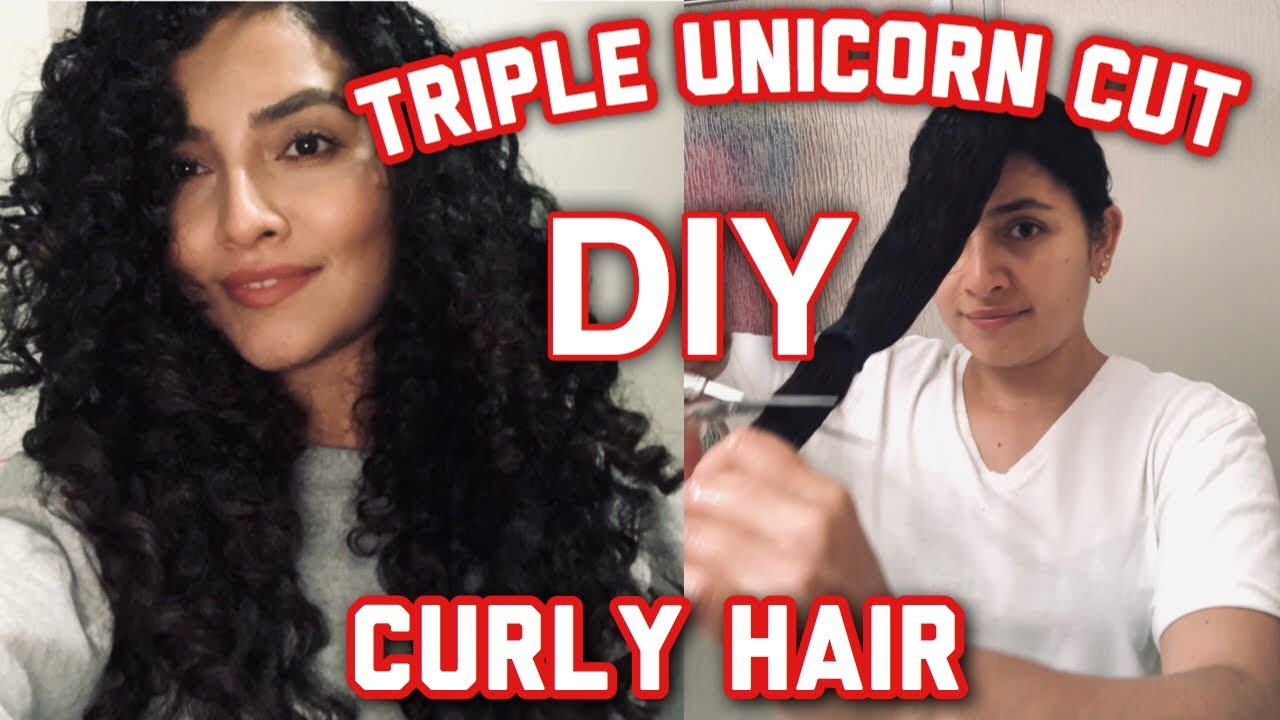 DIY TRIPLE UNICORN HAIR CUT ON CURLY HAIR How To Get Layers For Extreme  Volume