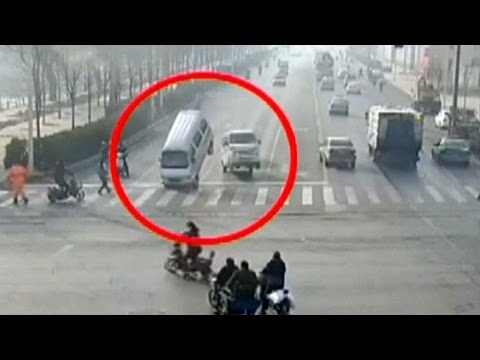 Weird Car Crash Video Goes Viral In China