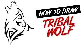 wolf tribal tattoo draw