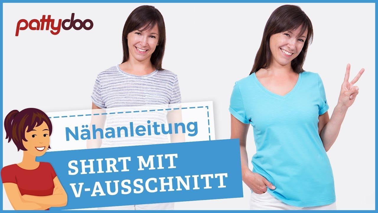 Anleitung Damen T Shirt Mit V Ausschnitt Und ärmel Aufschlag Nähen