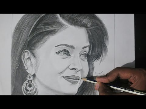 drawing Realistic Sketch of Aishwarya Rai | Pencil Sketch