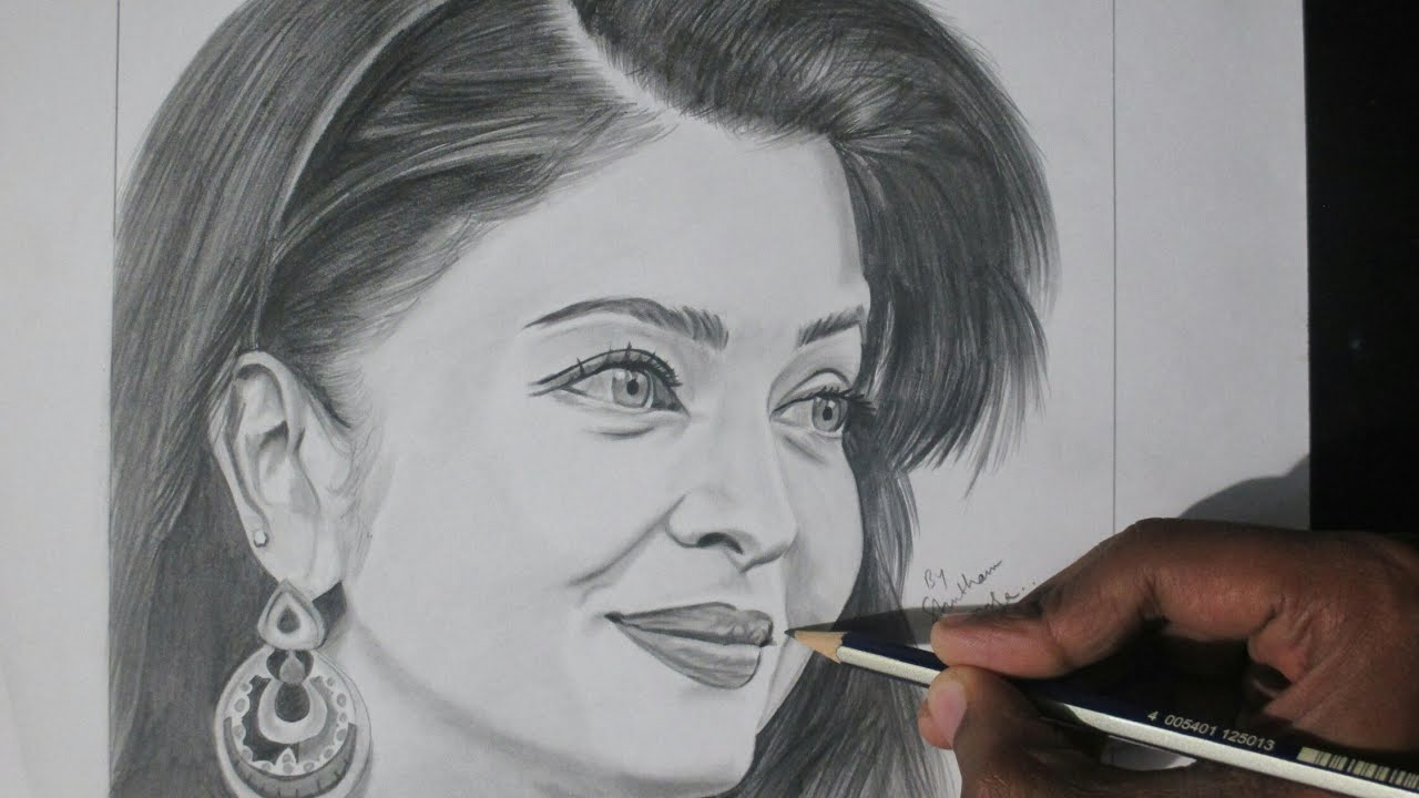 Drawing realistic sketch of aishwarya rai pencil sketch