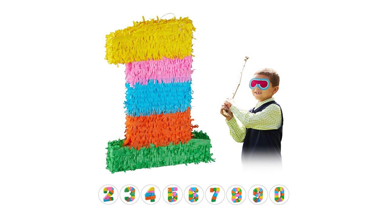 3 tlg Geburtstagspinata Pinatastock und Maske Pinata Set Einhorn für Mädchen