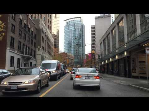 Driving Downtown Vancouver BC Canada