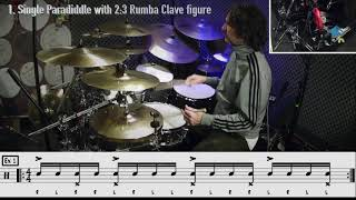 One Minute Lesson 11: Single Paradiddle Groove over a  2:3 Rumba Clave Figure