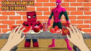 WHO´S YOUR FAMILY - SPIDER MAN COMENDO COMIDA VERMELHA POR 24 HRS MINECRAFT