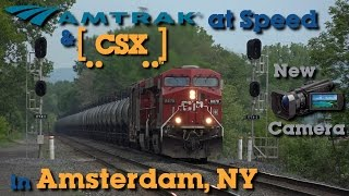 Amtrak and CSX at Speed in Amsterdam, NY with New Sony CX900 Camera!