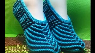 Вязание спицами домашние тапочки #103