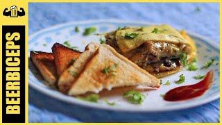Mushroom Stuffed Omelette - Easy Egg Recipe - BeerBiceps Breakfast recipes