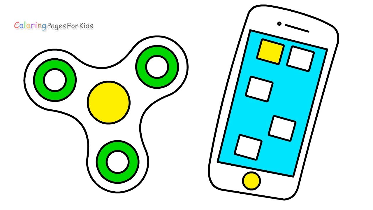 mobile phone fidget spinner coloring pages for kids how to draw