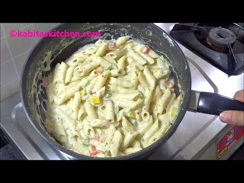 White Sauce Pasta Recipe | पास्ता बनाने की विधि | Pasta in white sauce | recipe by kabitaskitchen