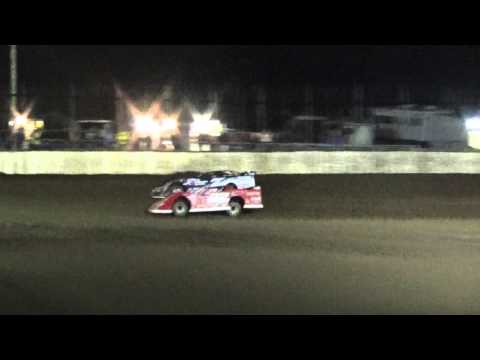 Jared Landers and Bobby Pierce Heat Race Finish LaSalle Speedway 2016 Thaw Brawl Friday Night