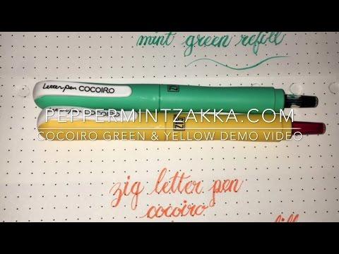 Kuretake Zig Letter Pen Cocoiro - Yellow & Green Demo Video by PeppermintZakka.com