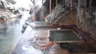 塩原温泉 明賀屋本館 雪景色の混浴川岸露天風呂