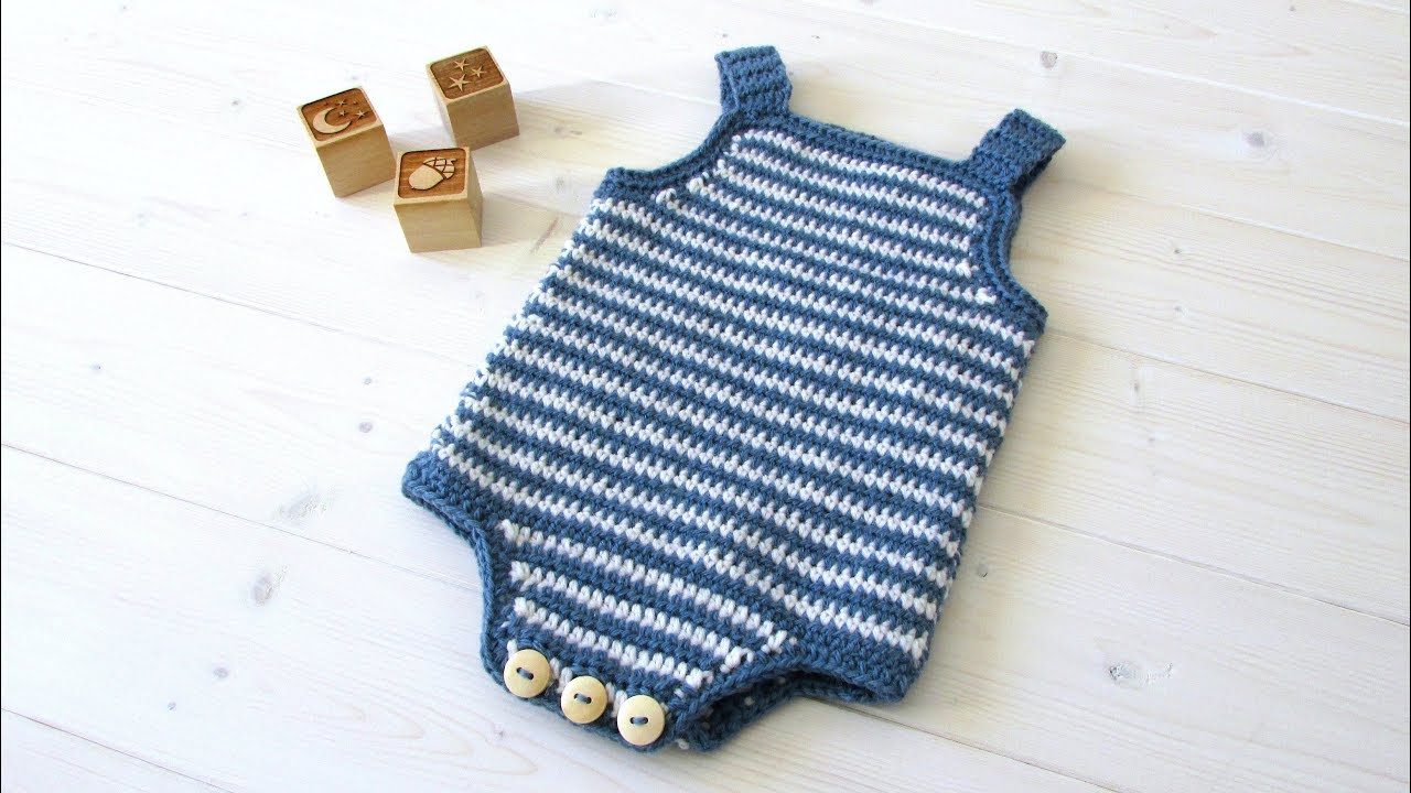 68d38ee02a3a How to crochet a simple striped baby romper   onesie - YouTube