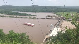 WATCH: Runaway barges on Arkansas River hit dam at Webbers Falls