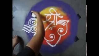 how to make rangoli with simple ganesha