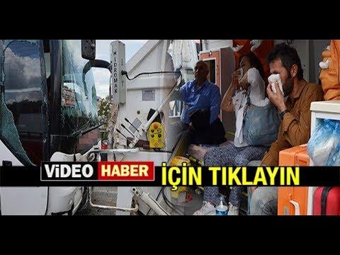 YOLCU OTOBÜSÜ, ÇÖP KAMYONUNA ÇARPTI; 9 YARALI...