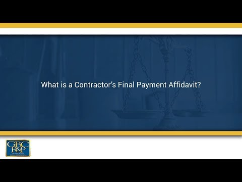 What Is A Contractor S Final Payment Affidavit