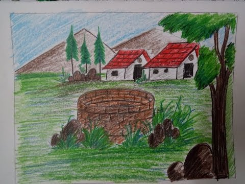 How to draw landscape village scenery with colour pencil !! drawing for kids !! slow tutorial
