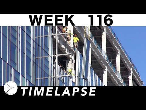 Construction time-lapse with 30 closeups: Week 116: Curtain wall glass galore; Tower cranes; more