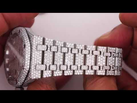 Audemars Piguet Steel Watch with 2800 Diamonds Iced Out