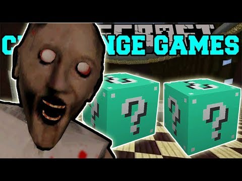 PopularMMOs Pat and Jen Minecraft: GRANNY CHALLENGE GAMES - Lucky Block Mod - Modded Mini-Game