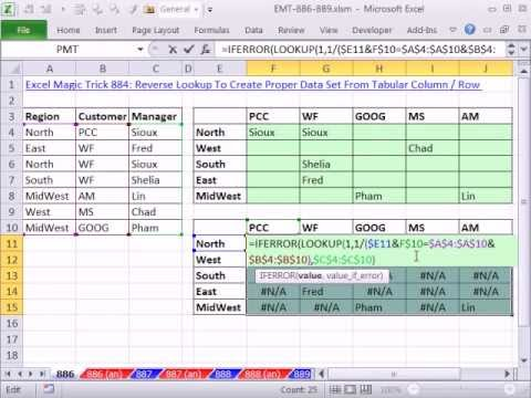 Excel magic trick 886 two way lookup list names in for Tabular table
